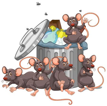 Five rats sitting by the rubbish bin illustration  イラスト・ベクター素材