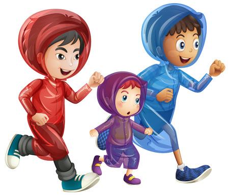 child running: Three boys in raincoats illustration