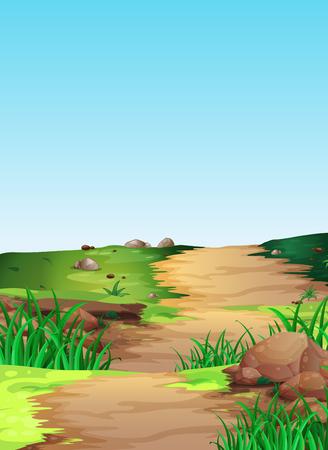 paisaje rural: Escena con la pista de senderismo en el campo de la ilustración Vectores