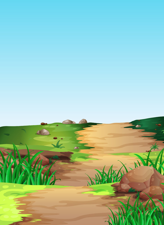 countryside: Scene with hiking track in the countryside illustration