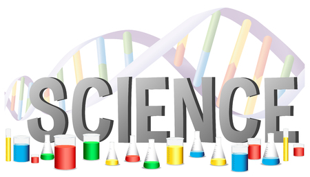 educational subject: Word design for science with science equipments illustration Illustration