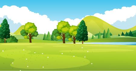 Escena del parque con la ilustración del campo verde Ilustración de vector