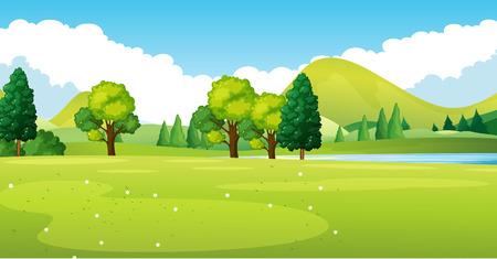 Park scene with green field illustration