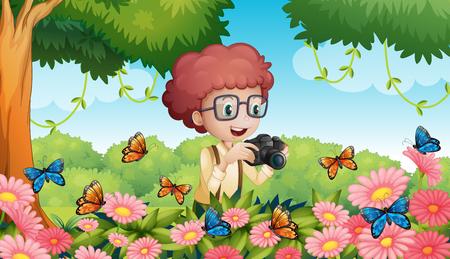 Boy taking picture of butterflies in garden illustration