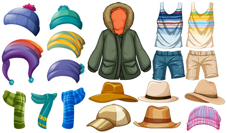 Winter and summer clothes illustration