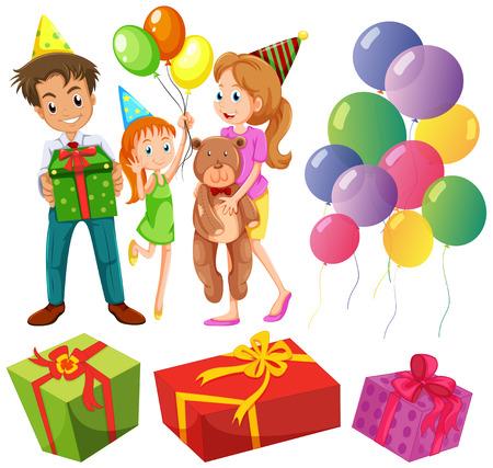 birthday presents: Birthday set with family and presents illustration Illustration