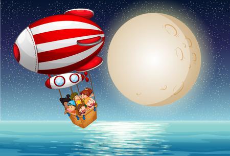 Children riding in the hot air balloon at night illustration Illustration