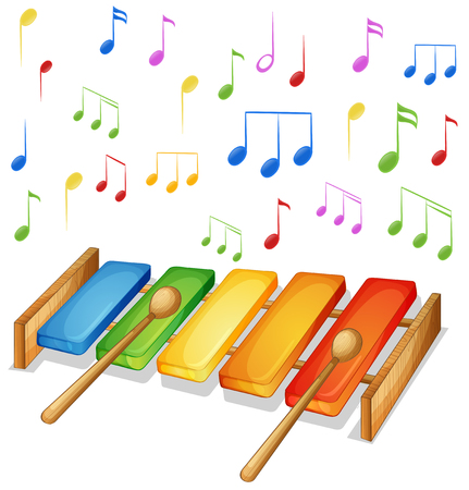 xilofono: Xilófono con notas musicales ilustración de fondo