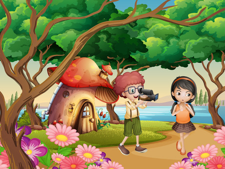 Boy filming girl in the garden illustration 向量圖像