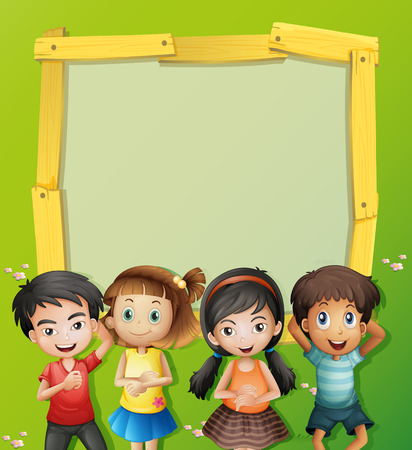 text frame: Border template with four kids on the grass illustration