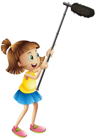 clipart speaker: Girl holding microphone for filming movie illustration