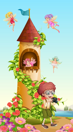 Boy taking picture of tower with fairies illustration Illustration