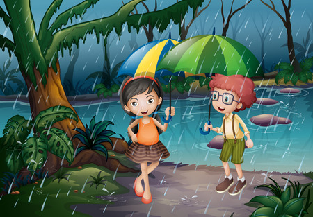 jungle scene: Boy and girl being in the rain illustration