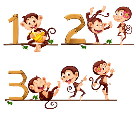 numbers clipart: Monkeys and number one to three illustration
