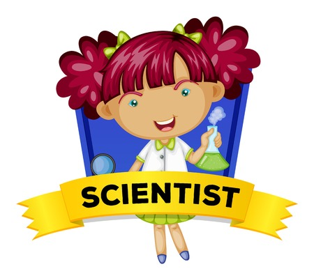 to a scientist: Occupation wordcard with female scientist illustration