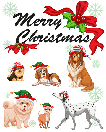 cute dogs: Christmas card template with cute dogs illustration