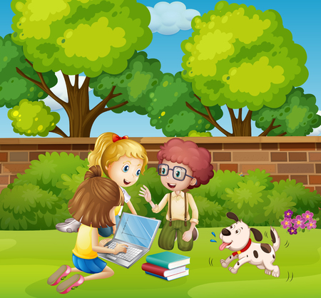 laptop outside: Three children working on computer in park illustration