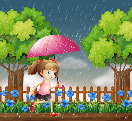 Girl running in the rain illustration