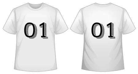 numbers clipart: White t-shirt template with front and back illustration