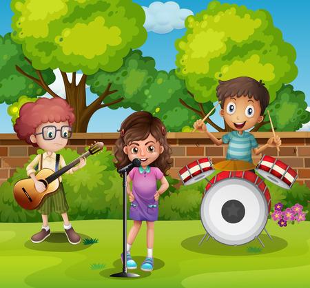 three children: Three children playing music in park illustration Illustration