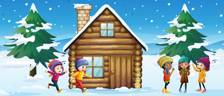 winter scene: Winter scene with children playing in the snow illustration Illustration