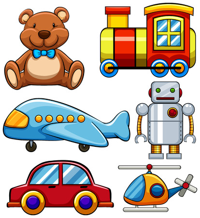 Different types of cute toys illustration