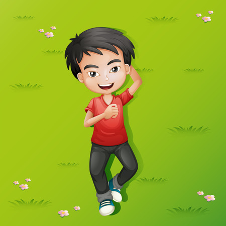lying down: Little boy lying down on the grass illustration
