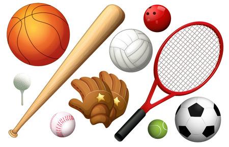 Different types of sport equipments illustration Illustration