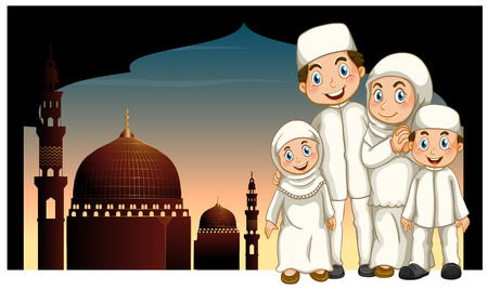 mosque illustration: Muslim family and mosque illustration Illustration
