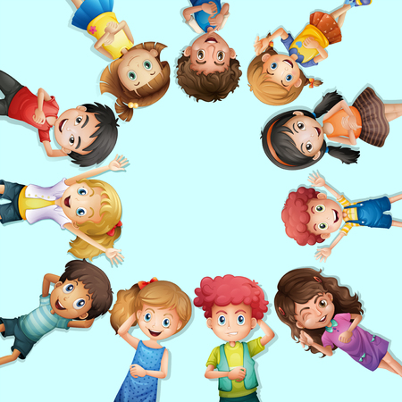 Many kids lying on the ground in circle illustration