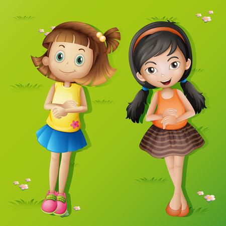 Two girls lying back on green grass illustration Illustration