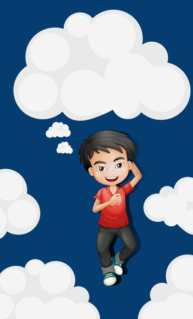 ly: Sky background with happy boy  illustration