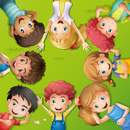lay down: Lots of children lying on grass illustration