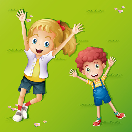 Two kids lying on the grass illustration