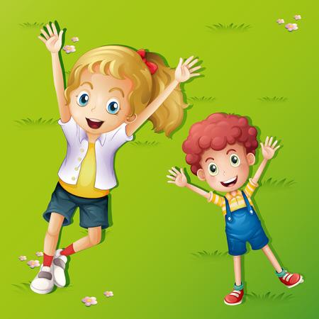Twee kinderen liggen op het gras illustratie