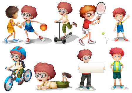 curly hair: Boy with curly hair in diffrent actions illustration Illustration