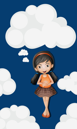 fluffy clouds: Little girl standing on fluffy clouds background illustration
