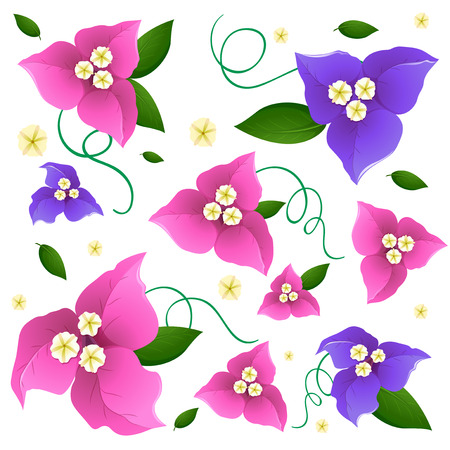 Seamless background design with colorful flowers in pink and purple illustration