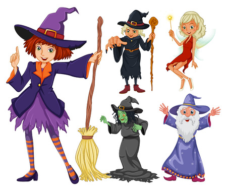 fantacy: Fairytales set with witch and wizard illustration Illustration
