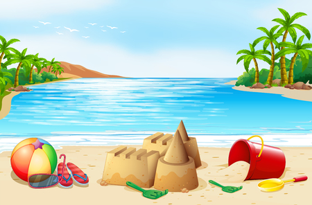 Beach scene with many toys  illustration Illustration