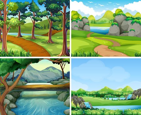Four scenes with river and tree illustration Illustration