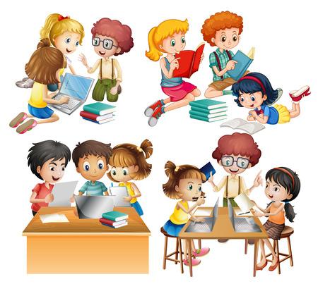 juntos: Grupos de estudiantes de la lectura y de trabajo en equipo ilustración