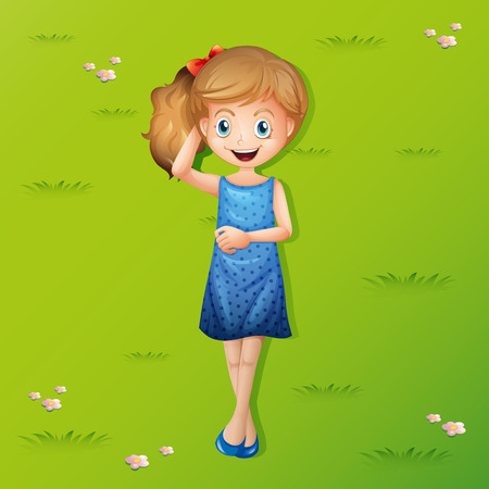Happy girl lying on grass illustration