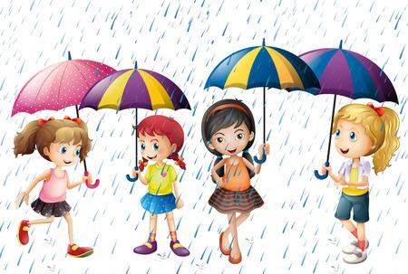 raining: Cuatro niños con paraguas estar en la ilustración de la lluvia Vectores
