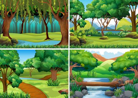 森や川の図の 4 つのシーン