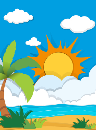 daytime: Scene with ocean at daytime illustration