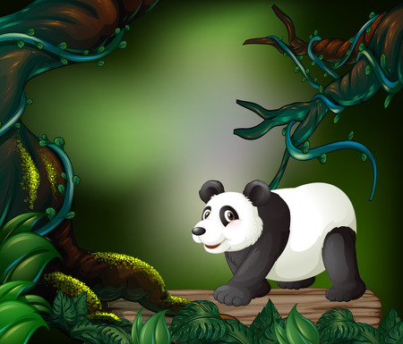 Wild panda in the forest illustration