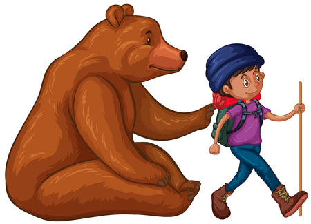 Grizzly bear and hiker with backpack  illustration