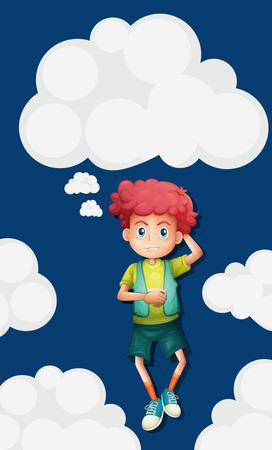 fluffy clouds: Boy on fluffy clouds background illustration