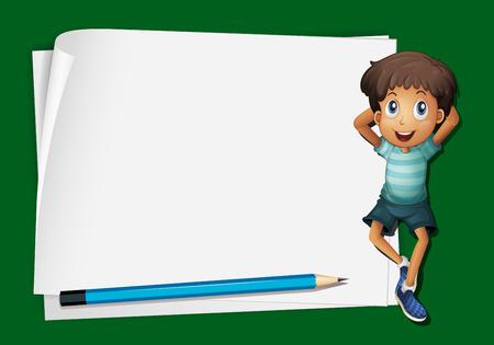 niño parado: Frame design with little boy and pencil illustration